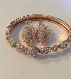 Lot Of 2! Telio by Doris Panos Crystal Bangle & Earrings Rose Gold Tone JCPenney - http://designerjewelrygalleria.com/doris-panos/lot-of-2-telio-by-doris-panos-crystal-bangle-earrings-rose-gold-tone-jcpenney-3/