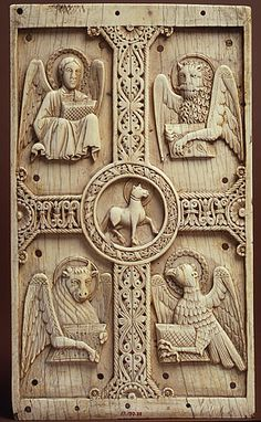 winged: Matthew, lion: Mark, ox: Luke, eagle: John. center lamb of God: Christ. 9th century