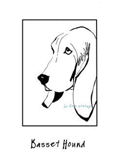 Dog art Basset hound print black white van lebonvintage op Etsy, $12,50