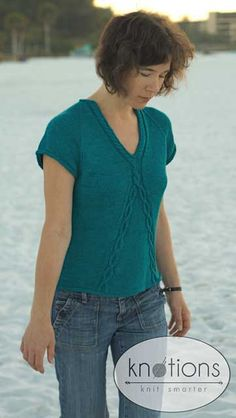 Siesta is a summer top that combines classic simplicity with an elegant twist. Created from Debbie Bliss 'Prima' the bamboo content gives a smooth silky feel to the top with wonderful drape while the addition of wool give a bit more spring. Modern Tops, Trendy Tops, Summer Knitting, Free Knitting, Sweater Knitting Patterns, Knit Patterns, Diy Pullover, Diy Top, Up Girl