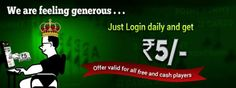 Your favorite offer is back!  Login daily get Rs. 5/- free cash.  Offer Valid for all the free & cash player   Hurry!!! Limited period offer....  https://www.classicrummy.com/?link_name=CR-12