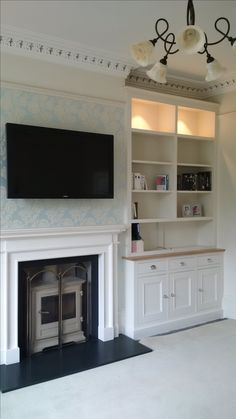 Hand painted bespoke alcove cabinets with American oak dresser top. Interior Design Living Room Warm, Small Space Interior Design, Living Room Designs, Living Room Shelves, Living Room Storage, My Living Room, Alcove Storage, Alcove Shelving, Alcove Tv Unit