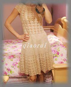 Diario ~ Vestido beige proceso damas ganchillo crochet es completa - lluvia - lluvia puntos estelares blog de