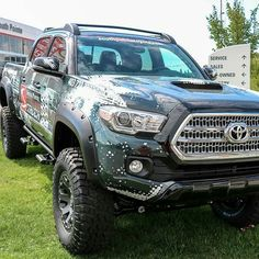 "RKR Rails with optional detachable steps installed.  #EzRepost @sp_toyota with @ezrepostapp  What do you think of the wrap on our Tacoma? Also comes with; - 6"" Procomp Stage 2 Lift - Genuine Toyota Roof Rack - 18"" Black Rhino Warlord Wheels - 35"" BF Goodrich Mud Terrain KM2 - Nfab Rock Rails - MBRP Dual Exhaust - Unpainted Bushwacker Pocket Style Flares #toyota #tacoma #trd #procomp #nfab #yyc #calgary #calgarycars #tacomaworld #bushwacker #liftedtruck #twitter"