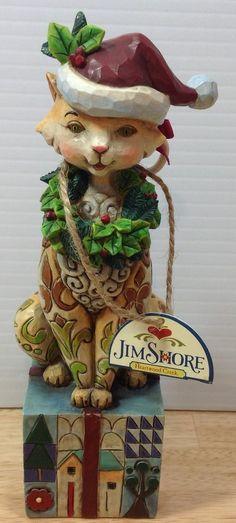 Jim Shore Santa Claws Figurine Heartwood Creek Kitty Christmas Santa Hat w/TAG