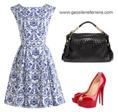 """vestido"" by gessilene-ferreira on Polyvore featuring moda, Christian Louboutin e Bebe"