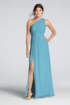 8bba7069083a David's Bridal Marine Chiffon Long One-shoulder Crinkle Feminine Bridesmaid/Mob  Dress Size 8 (M) off retail