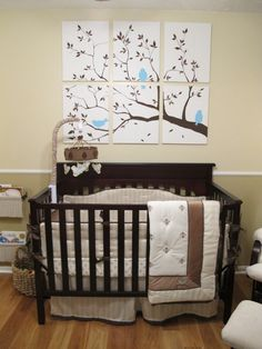 This bedding is perfect!  Neutral (just add touches of pink or blue) and wouldn't require me repainting the room!