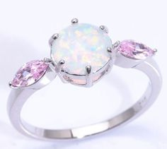 ♥ LOOK ♥ Stunning White Fire Opal & Pink Topaz Gemstone Silver Ring Size 7
