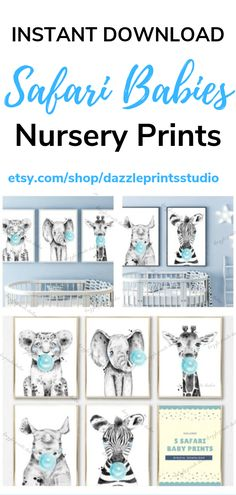 These safari nursery prints are perfect to decorate your baby's nursery or toddler's room or any preferred space. Safari animal printables are right on trend with your safari nursery theme. Printable Wall Art by Dazzle Prints Studio. Safari Theme Nursery, Jungle Nursery, Nursery Themes, Baby Prints, Nursery Prints, Nursery Art, Elephant Artwork, Halloween Prints, As You Like