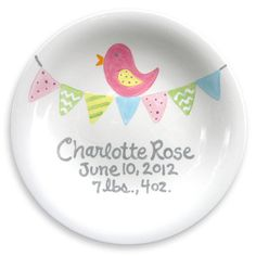 Baby Gift - Personalized Plate - Hand Painted Baby Girl Ceramic - Custom Made - Pink Bird on Etsy, $40.00