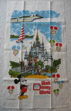 Vintage Disney World Linen Wall Hanging Tea by RediscoveredRetro