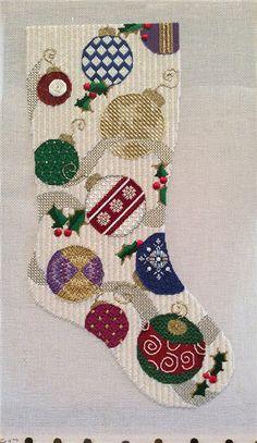 Associated Talents needlepoint Christmas stocking, stitched by Kari Hofer
