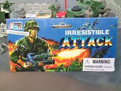 IRRESISTABLE ATTACK TOY ARMY MEN AND PLASTIC MILITARY VEHICLE SOLDIER PLAYSET by McToy. $3.99. Each set may not contain the exact pieces shown.. Assorted 12-14 Piece Army Playset - Vehicles, Army men, flag, and more!. Combine items to save on shipping!. Makes a great holiday stocking stuffer or a nice Birthday trinket.. Great for all those army buffs!. Each package contains an assortment of military figures and vehicle(s) with flag (exact pieces may not be shown and wi...