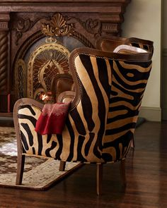 Massoud Chocolate Zebra Wing Chair - Horchow