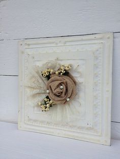 Vintage, White, Embossed, Ceiling, Tin, Wall Hanging, Shabby Chic, Decor with Burlap/Lace on Etsy, $45.00