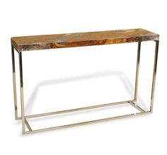 Teak Resin Stainless Steel Entry Table Transitional Console Tables Sofa