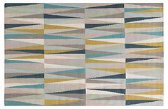 8'x11' Arriette Flat-Weave Rug, Green | Rug Bazaar | One Kings Lane