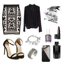 """""""Black, white & silver"""" by angela-reydet ❤ liked on Polyvore featuring H&M, Fornarina, Lucky Brand, Gucci, Essie, Casetify, Anne Klein and NARS Cosmetics"""