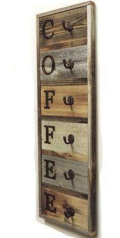 Vertical Barnwood Coffee Mug Rack Wall Mounted, Wooden Hanging Cup Holder, Kitchen Storage for Display. Organizer Hooks, X - Vertical Barnwood Coffee Mug Rack Wall-Mount Coffee Cup Holder - Arte Pallet, Diy Pallet, Pallet Home Decor, Pallet Crafts, Pallet Beds, Mug Rack, Palette Diy, Diy Holz, Diy Wood Projects