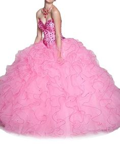 pink ball gowns , sweet 16 dresses , ball gown prom dresses , lace up , rhinestones , ruffles , long , floor length , sequins , beading , sparkly designer , love it much !