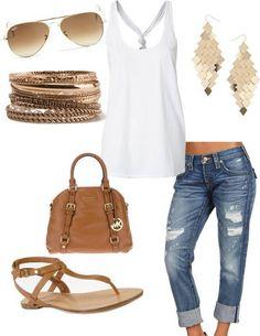 de-stressed denim:  buckskin leather: WHITE T:  and Gold= ME