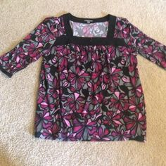Apt. 9 Dress Top This top has a floral design and a square neck line. It's purple/pink/black. Apt. 9 Tops Blouses