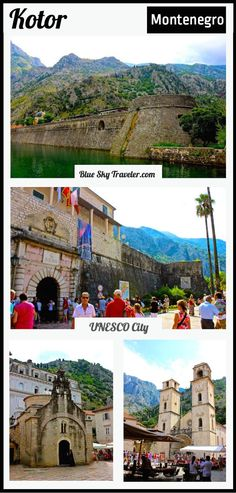 At the end of the Bay of Kotor, the walled city of Kotor is an example of medieval fortifications with gates, maze-like streets, bastioned walls, and the Great Wall of Kotor circling the hillside protected by a fortress.