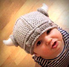 Crocheted Viking Hat - Too cute! Crocheted Viking Hat - Too cute! Crocheted Viking Hat - Too cute! Crochet Viking Hat, Crochet Beanie, Knitted Hats, Knit Crochet, Crochet Hats, Crochet Costumes, Viking Knit, Hand Crochet, Crochet Baby Boy Hat