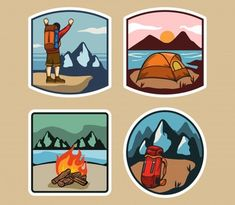 Simple Lable Of Outdoor Activity Adobe Illustrator, Brush Background, Cooler Painting, Cartoon Posters, Simple Colors, Shop Logo, Image Hd, Cartoon Styles, Outdoor Camping