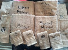 towel set with Harry Potter quotes or by MandaPandaBagsandMor