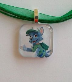 1 inch Glass Tile, Silver Plated. (Paw Patrol. ROCKY)  Pendant Necklace. Paw Patrol Rocky, Silver Plate, Coin Purse, Lunch Box, Pendants, Pendant Necklace, Personalized Items, Wallet, Glass