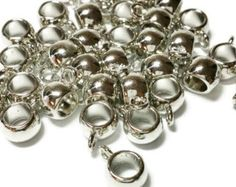 Check out 50 Bail Beads Round Silver Tone Smooth Fit 11mm x 8mm, Large Hole Beads, Tube Beads, Bail Beads, 11mm, Jewelry Findings, Bail Connector, B73 on vickysjewelrysupply