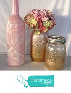 Set of 3 Rustic chic wine bottle and mason jar centerpiece, bridal, baby shower, bridal shower, wedding, vintage chic, country chic, shabby chic, gold, ivory, vase, lace, pink, blush, gold glitter from A Simple Little Something https://www.amazon.com/dp/B06WGNB1MG/ref=hnd_sw_r_pi_dp_EOjOyb311JB47 #handmadeatamazon
