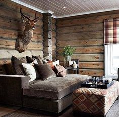 Cabin-life Tag someone who could need this right now Cabin Chic, Cozy Cabin, Cozy House, Cabin Homes, Log Homes, Log Cabin Bedrooms, Cabin Interiors, Cabin Design, Sweet Home