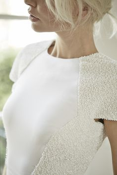Charlotte Simpson minimalist simple wedding dress with hand embroidered detail