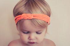 Orange Knot Braid Baby Headband Turban Headwrap by hollyblossoms