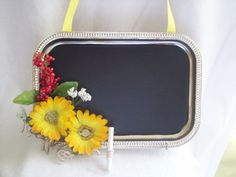Decorative upcycled silver magnetic tray  chalkboard / by Cherie4e, $7.00