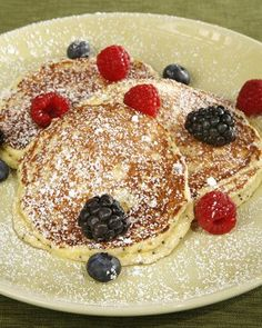 "This delicious recipe for lemon-ricotta poppy seed pancakes is an interesting twist on breakfast and is courtesy of Joan Nathan's ""The New American Cooking."""