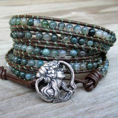 Sea Goddess  5wrap bracelet mixed green gemstone by TownofBeadrock, $135.00