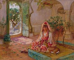 Algerian lady in the courtyard with her pet deer, mid 1800s.  Artist :Frederick Arthur Bridgman.