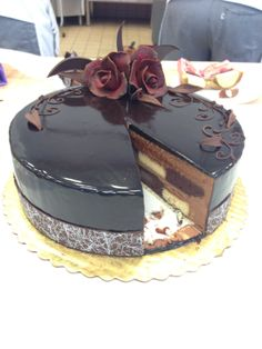Layers of caramel, chocolate mousse, and checkerboard cake. #jwuculinary. Submitted by Erica Sperduto.
