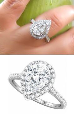 Pear Shaped Halo Diamond Ring ♥... way too big for my taste, but I love the stone shape.