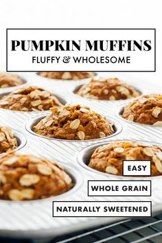 These healthy pumpkin muffins are absolutely DELICIOUS! These maple-sweetened, whole grain pumpkin muffins will be your new favorite fall breakfast. I love them with a spread of almond butter on top! #cookieandkate #pumpkin #pumpkinmuffins #wholegrain #breakfast #fallrecipe Pumpkin Scones, Pumpkin Bread, Pumpkin Spice, Healthy Banana Muffins, Fall Breakfast, Breakfast Muffins, Breakfast Cooking, Pumpkin Breakfast, Oatmeal Muffins