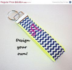 SALE  FINGER Key FOB / KeyChain / Wristlet   initial by Laa766 preppy / fabric / cute / patterns / key chain / keychain / badge / key leash / gifts / under $10 / designer / car / school / key ring