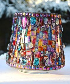 Large Stained glass Mosaic Rainbow Vase or Candle