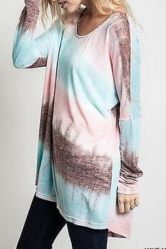 Posh Frenzy For Umgee New nwt BohoTie Dye Lose Fit Shirt Top sz XL Excellent!