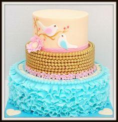 Engagement Cake I had uploaded this one already but accidentally deleted it. Pretty Cakes, Beautiful Cakes, Amazing Cakes, Fondant Cakes, Cupcake Cakes, Fun Cakes, Butterfly Cakes, Butterflies, Bird Cakes