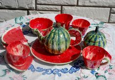 `Ripe watermelon.`Tea set for 4 persons