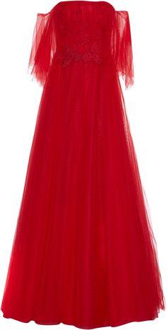 Costarellos Fairy Off-shoulder Gown